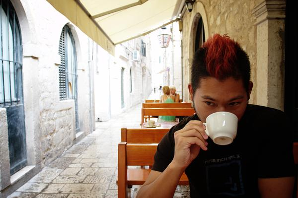 Jason Having a Coffee on a Side Street