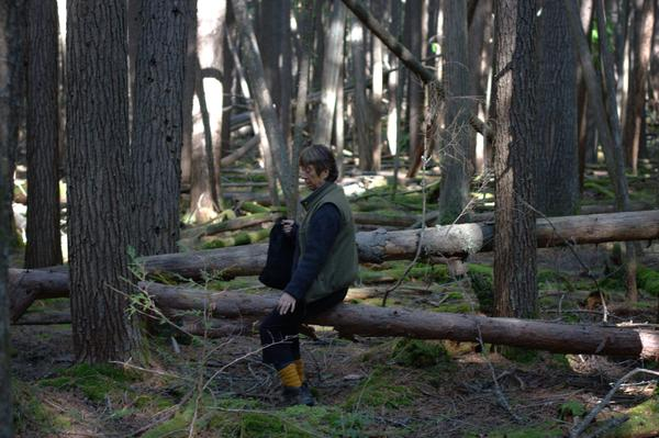 Mom Climbing Over a Log