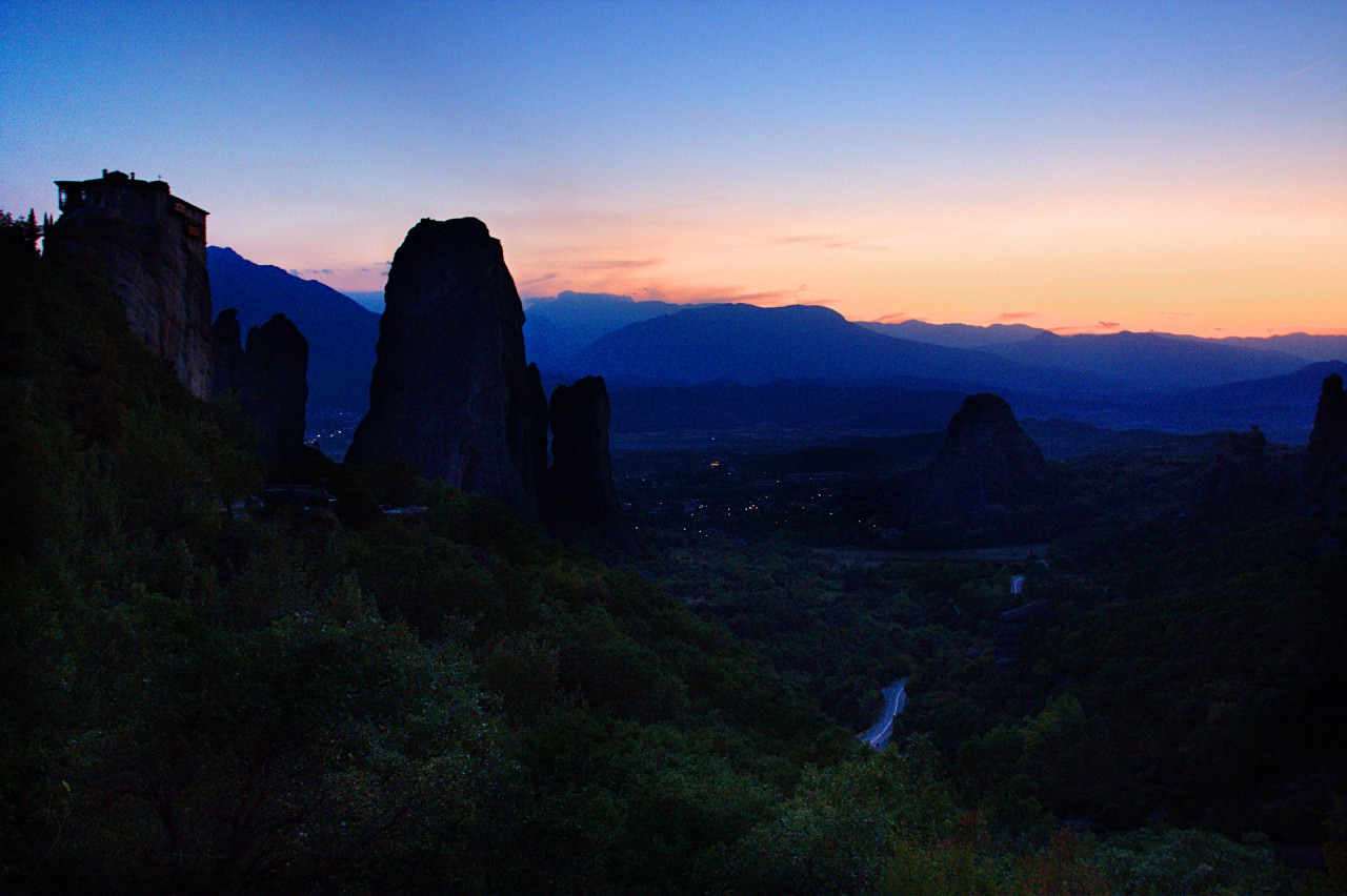 Meteora Monastery at Sunset