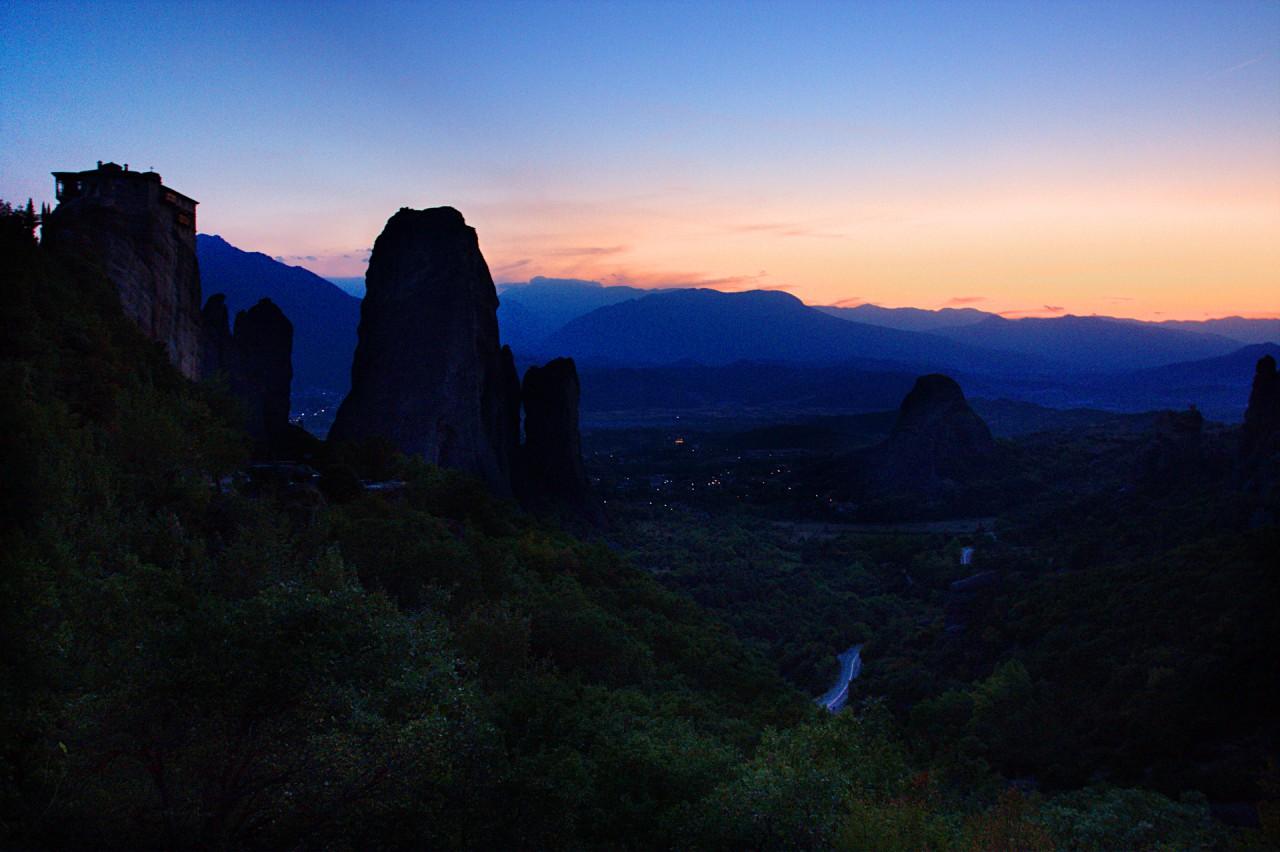 Meteora Monastery at Sunset